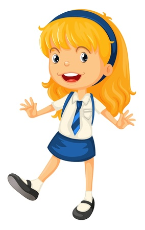 little one: illustration of a girl in school uniform on a white