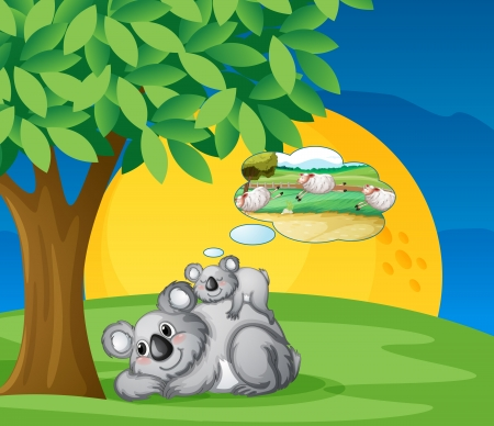 illustration of bears sitting and thinking under tree Vector