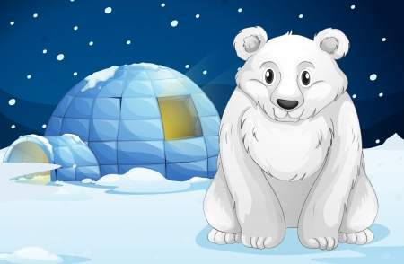 illustration of a Egloo and bear in a beautiful night Vector