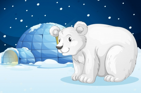 snow fall: illustration of a Egloo and bear in a beautiful night