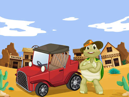 illustration of tortoise and car infornt of saloon Vector