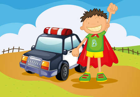 illustration of boy and car on a landscape Vector