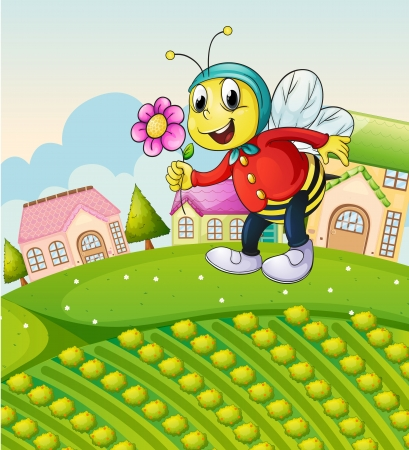 illustration of a bee on a green landscape Vector