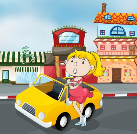 illustration of a girl near car infront of cafe Vector