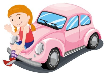 illustration of a girl and car on a white background Stock Vector - 14887374