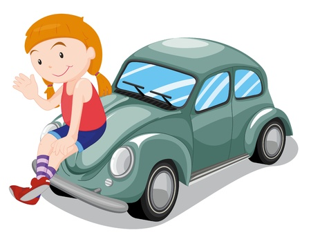 blue smiling: illustration of a girl and car on a white background