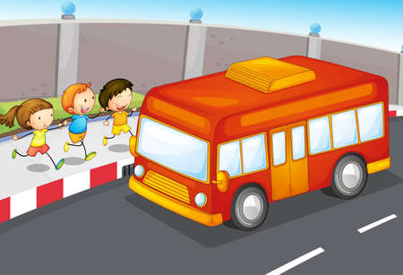 illustration of kids and bus on the road Stock Vector - 14887578