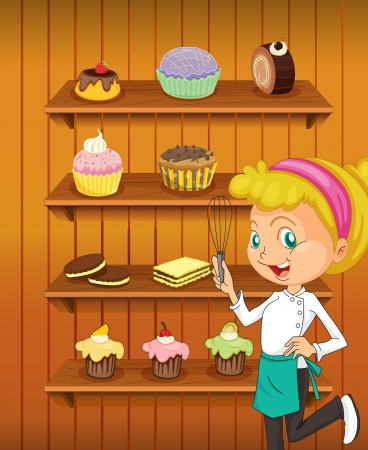pastry shop: illustration of a girl in the kitchen as a chef