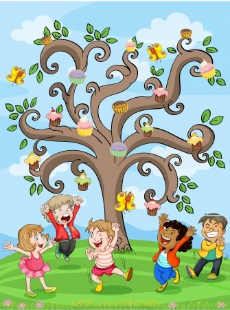 palying: illustration of a kids playing under cake tree Illustration
