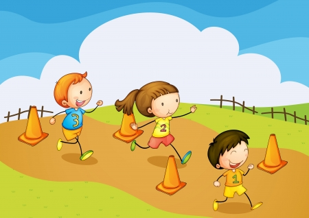 young woman running: illustration of a kids running in nature Illustration