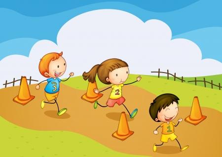 hombres corriendo: Ilustraci�n de un ni�os corriendo en la naturaleza