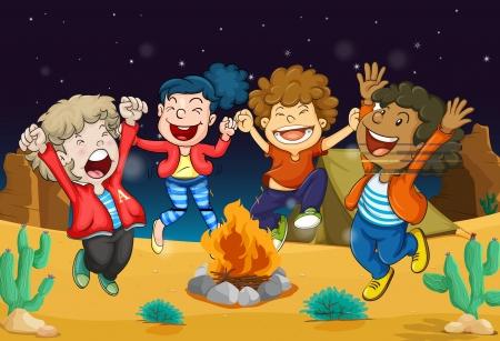 illustration of boys near fire in dark night