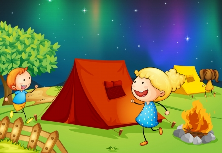 illustration of kids near fire in dark night Vector