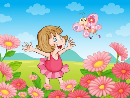 illustration of a girl with butterfly in the nature Vector