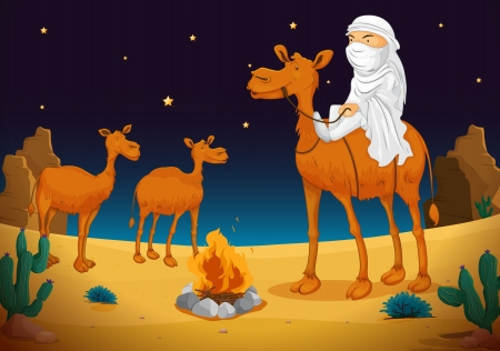 camels: illustration of a arab and camel in dark night