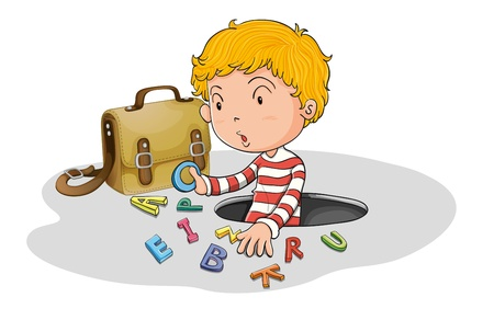 english letters: illustration of alphabets and boy on a white background