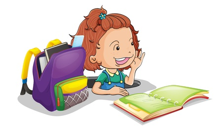pupils: illustration of a girl with school bag on a white background