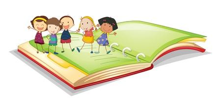 illustrazione di bambini e libro su uno sfondo bianco