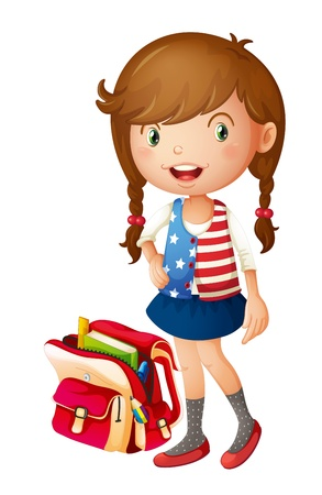 illustration of a girl with school bag on a white background Stock Vector - 14892470
