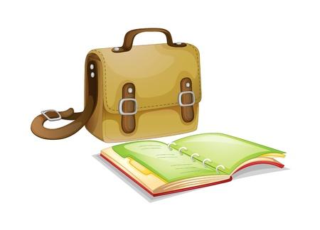 mochila escolar: Bolsa y un libro sobre fondo blanco