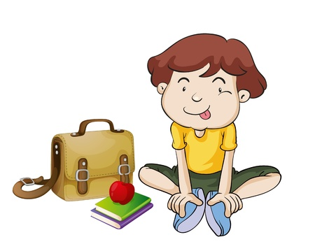 1 school bag: illustration of boys and book on a white background
