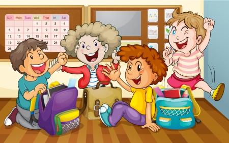 salle de classe: illustration d'un des enfants heureux en classe