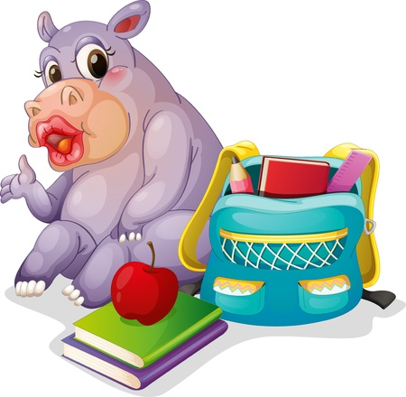 illustration of a buffalo with school bag on a white background Vector