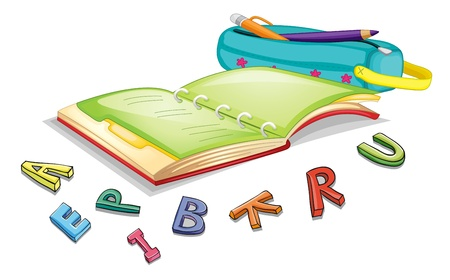 sketch book: illustration of alphabets and book on a white background
