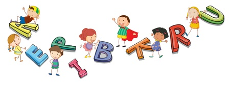english girl: illustration of a kids playing with alphabets