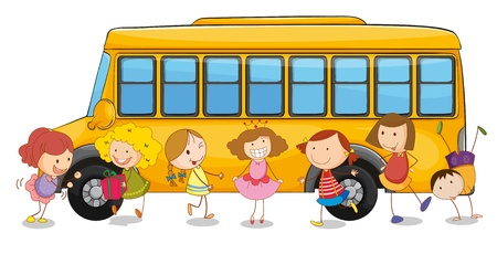 illustration of kids and school bus on a white Vector