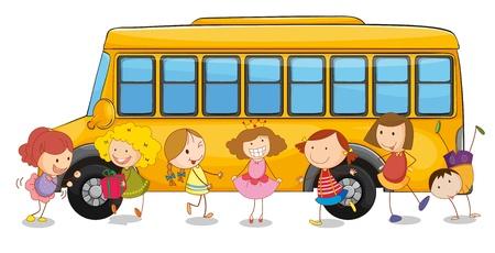 transporte escolar: ilustración de los niños y el bus escolar sobre un fondo blanco