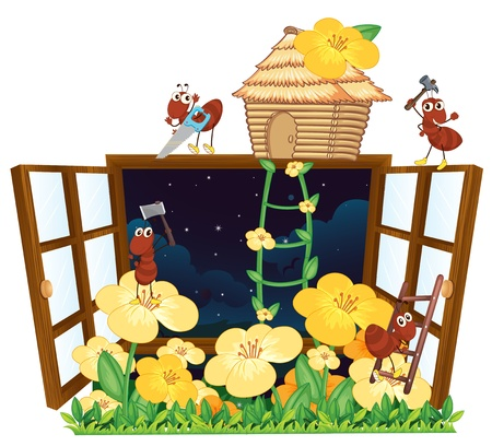 stay home work: illustration of ants, bird house and window on white