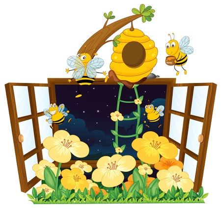 bee house: illustration of bees, bird house and window on white