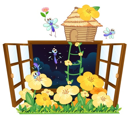 illustration of flies, bird house and window on white Vector