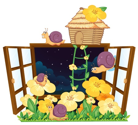 illustration of snails, bird house and window on white Vector