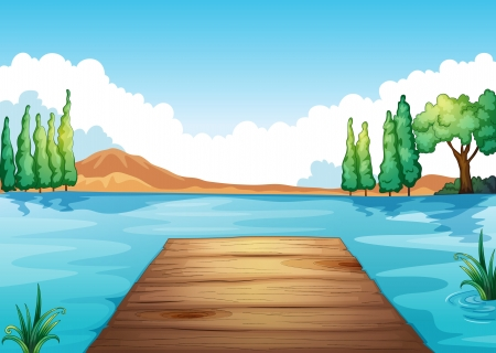 illustration of river and bench in a beautiful nature Vector