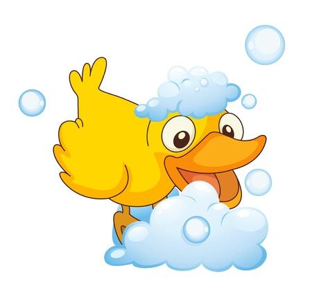 wild duck: illustration of a yellow bird in the foam