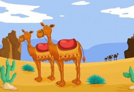 Ilustración de un grupo de camellos en el desierto Ilustración de vector