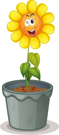 flowers cartoon: illustration of a flower in the pot