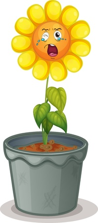 green smiley face: illustration of a flower in the pot