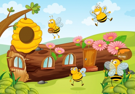 illustration of honey bees and wooden house Vector