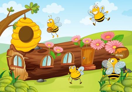 miel de abeja: ilustración de abejas de la miel y de la casa de madera