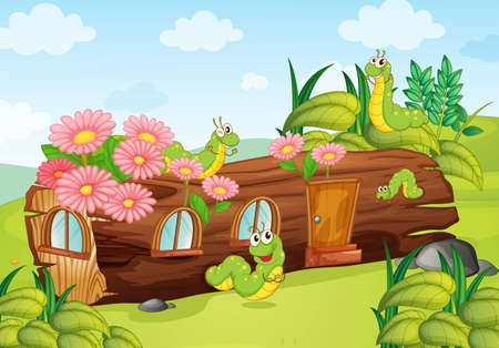 illustration of worms and wooden house Vector