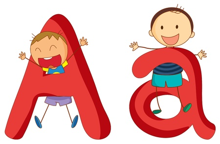 alphabet kids: Illustration of children in a letter of alphabet