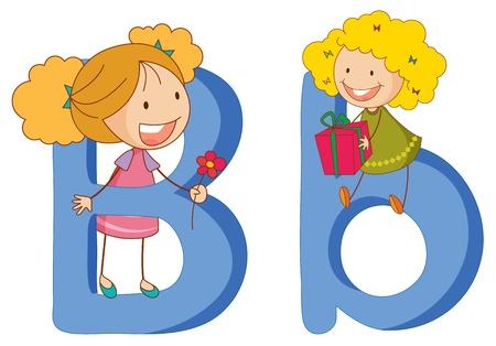 Illustration of children in a letter of alphabet Vector