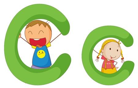 Ilustración de los niños de una letra del alfabeto Ilustración de vector