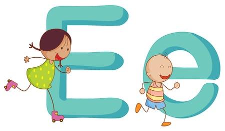 capitel: Ilustración de los niños de una letra del alfabeto Vectores