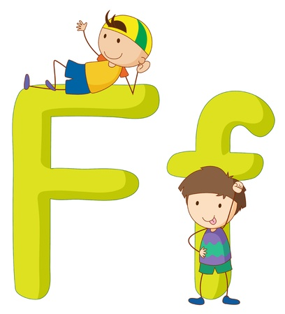 man of letters: Illustration of children in a letter of alphabet