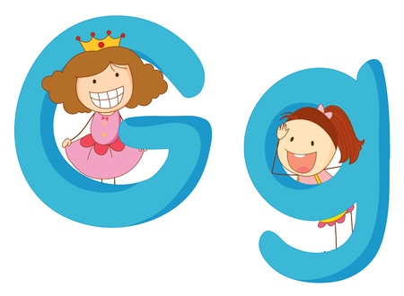 Illustration of children in a letter of alphabet