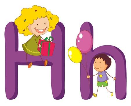 Ilustraci�n de los ni�os de una letra del alfabeto